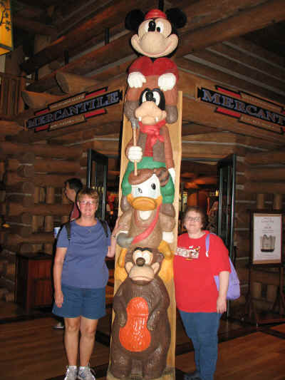 The Disney character totem at Wilderness Lodge