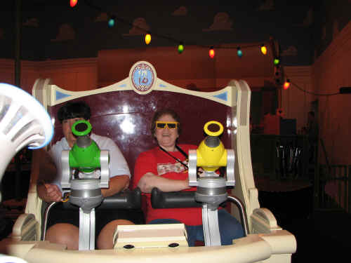 Robin in her 3D glasses on Toy Story Midway Mania
