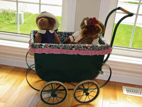 Boyds Bears in my mother's doll stroller