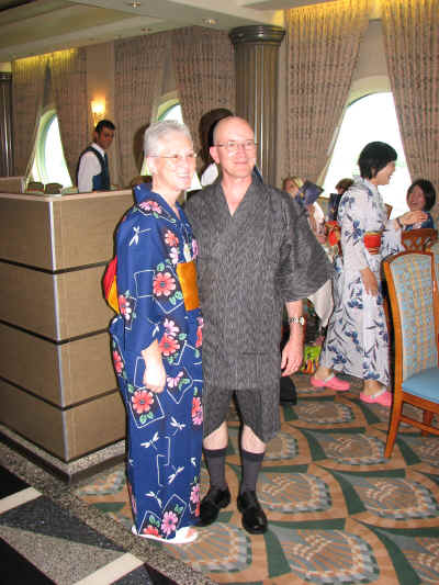 Deb Wills in a yukata and Steve Barrett in a jinbei