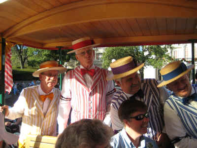 The Dapper Dans on the horse-drawn trolley