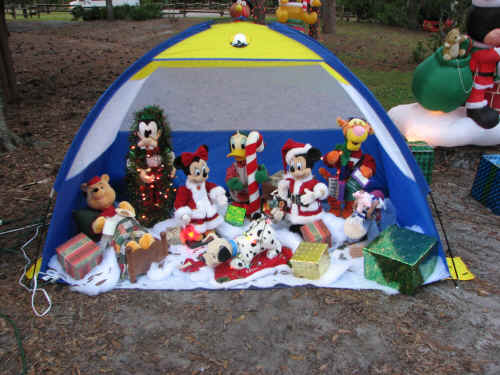 There is Christmas decor everywhere in the campground