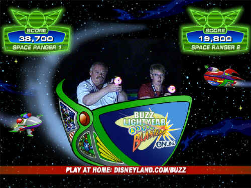 Gary won the first round at Buzz Lightyear.